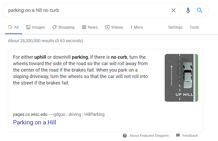 "Example of a Google featured snippet that addresses the query ""parking on a hill no curb."""