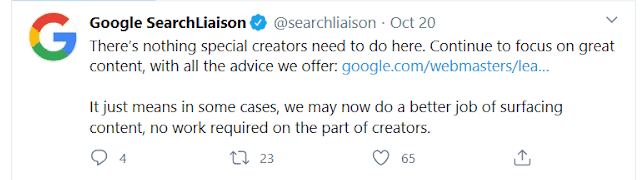 Tweet from Google SearchLiaison on how to content creators can respond to new passage indexing functionality.