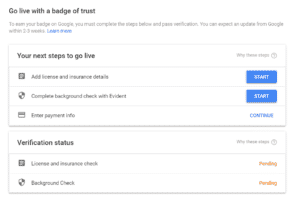 """Example of a verification form for the """"badge of trust"""" program that can lead to higher rankings for Google local services ads."""
