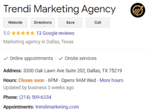 Example of a Google business listing with accurate hours and location information.