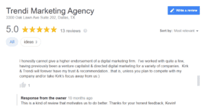 Example of a customer review with a response from a business owner.